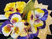 """Vintage Millinery Flower Collection 1-2 1/2"""" Purple Violets Yellow Pansy H2282"""