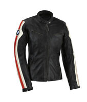 BMW Motorcycle Jacket Biker Racer Black Leather White Red Stripe Sports Armored