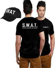 SWAT TEAM T-SHIRT & CAP ADULT POLICE MILITARY FANCY DRESS LOT ACCESSORY COSTUME