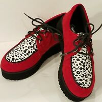 NWOB - Cupid Red Suede With Cow Print Top Black Laces   - Women's Size 5 1/2