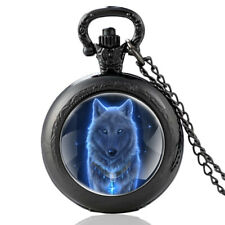 Pendant! A Beautiful Gift Idea! Vintage Black Mysterious Wolf Pocket Watch