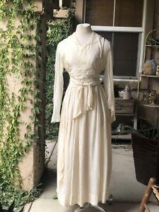 Antique Edwardian Silk Dress Bodice And Skirt Hand Beaded