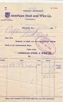 U.S. American Steel and Wire Co. T.Mark Logo Chicago 1903 Paid Invoice Ref 43548