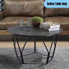 Contemporary Round Top Coffee Table Geometric Metal Base Industrial Accent Black