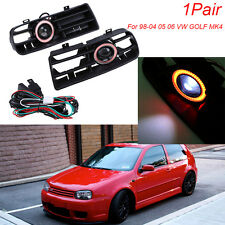 for 98-04 VW GOLF GTI MK4 LED Running Fog Lights Red Angel Eyes Front Grilles