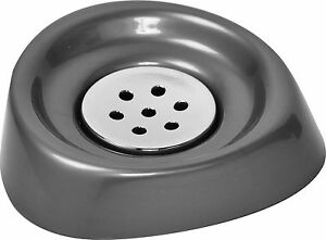 Evideco Bath Soap Dish Cup Shiny Solid Colors with Chrome Tray