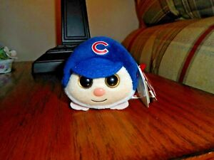 """4"""" Teeny Tys CHICAGO CUBS Stackable Plush Heart Tags MLB Licensed Smokefree NWT!"""