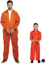 PRISONER CONVICT Costume Inmate ORANGE Jumpsuit Boiler Suit Fancy Dress Outfit