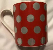 Kent Pottery Red With  Gold Metallic Polka Dots Valentine Coffee Mug Cup 16 oz
