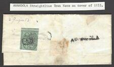 Italy Roman State 1852 #2a 1baj blu green on Narni to Roma 1853 cvr AMALDONA sl