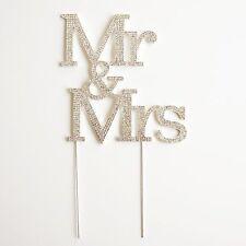 MR and MRS 3 Row Crystal Rhinestone Wedding Cake Topper Bride and Groom USA