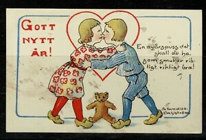 New Years Card Sweden New Years Kiss 1919 Signed Heart Teddybear Small Card