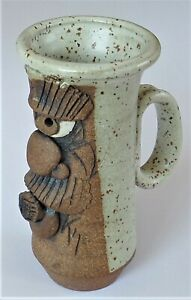 "Handcrafted Stoneware Pottery Mug - Ugly/Funny Face Man w/Cigar - Signed ""KS"""
