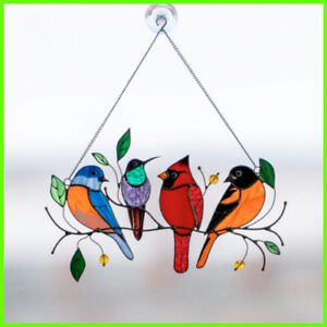 River of Goods - Birds Stained Glass Song Bird Window Panel