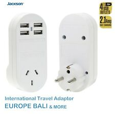 Jackson Outbound Travel Adaptor Europe Bali 4 USB Outlets International Adapter