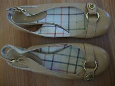 "COACH ""OCTAVA"" TAN LEATHER SLING BACK HEELED SANDAL SIZE 6 B"
