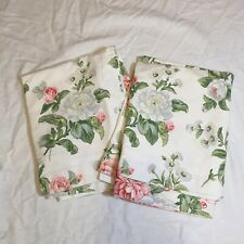 2 King Pillow Shams Martha Stewart White Pink Green Flowers Cotton