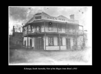 OLD POSTCARD SIZE PHOTO ECHUNGA SOUTH AUSTRALIA, THE HAGEN ARMS HOTEL c1907