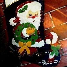 "18"" Christmas Stocking Kit 9226 Santa with Wreath and Candy Cane Hobby Kraft"