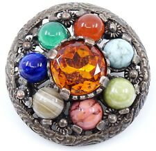 Miracle Jewelry Vintage Brooch Colorful Stones Round Pin Pendant