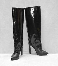 B00 JIMMY CHOO Derive Blk Patent Hidden Platform Knee Hi Boots Shoes Sz 40 $1995