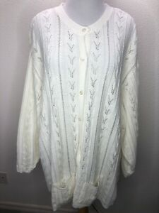 Women's Liz & Me 4X Soft Ivory Cable Knit Cardigan Plus Size Pockets