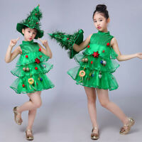 2PCS Toddler Kid Baby Girl Christmas Tree Costume Dress Top Party Hat Outfit Set
