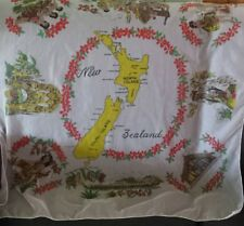 VINTAGE 50s RETRO Chiffon SCARF souvenir of New Zealand Boho GUC