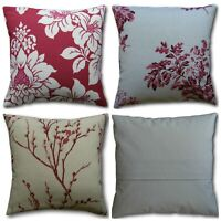 """Designer Cushion Covers handmade in Laura Ashley's Cranberry Red Fabrics 16"""""""