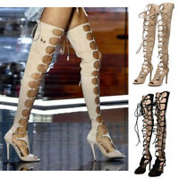 Sexy Womens Lace Up Over The Knee Boots Peep Toe High Heels Gladiator Shoes Size