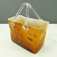 "Murano Style Hand Blown Art Glass Purse Hand Bag Brown With Handles Vase 9"" Tall"