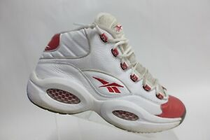 REEBOK Question Mid White/Red Sz 12 Men Leather Basketball Sneakers
