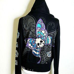 REBEL SPIRIT Women's Black Embroidered Metallic Butterfly Zip Hoodie/Jacket, XL