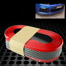 2.5 M Car Front Lip Bumper Carbon Fiber Strips Stickers Protection Red + Black