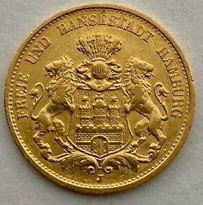 Hamburg 20 Mark Gold 1893 J Gold großer Adler J212