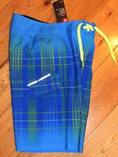 "Under Armour 27"" Fader board shorts NWT boys' 14 blue/neon green $40 swim"