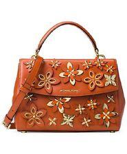 New Michael Kors Flowers Ava Small Leather Top Handle Satchel orange floral bag