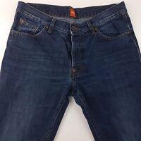 HUGO BOSS  Mens Jeans W34 L34 Dark Blue Regular Fit Straight High Rise