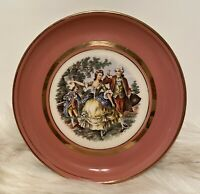 """Hyalyn Porcelain Plate Victorian Dancing Couple 8"""" Pink with Gold Rim Vintage"""