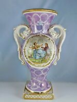 ANCIEN VASE A ANSES ZOOMORPHES FAIENCE DECOR SCENE GALANTE SIGNEE WATTEAU MO17