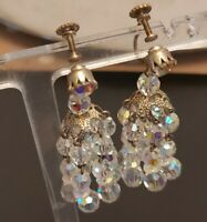 LOVELY VINTAGE 50s 60s AURORA BOREALIS GLASS SCREW CLIP ON CHANDELIER EARRINGS