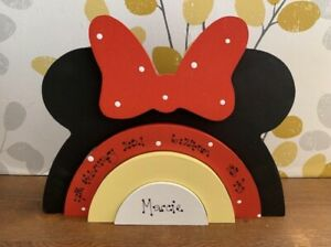 Personalised Wooden Stacking Minnie Mouse Design Rainbow, New Baby Boy Girl Gift