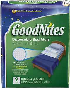 Goodnites Disposable Bed Mats for Bedwetting, 2.4 x 2.8 ft, 36 Ct (4 Packs of 9)