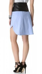 NEW Robert Rodriguez pale blue skirt with real leather US12 RRP $365
