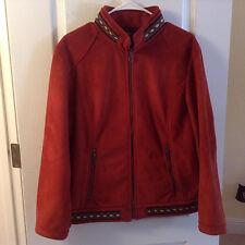 Cabela's Rust color Suede Jacket Coat Parka Indian Motif sz M WORN ONCE