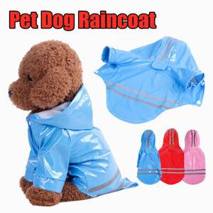 Pet Puppy Raincoat Reflective Waterproof PU Raincoat Dogs Cats Jacket Outdoor