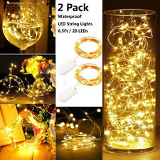 2pcs 2m String Lights Starry Rope Copper Wire Indoor Outdoor Decor Fairy Lamps