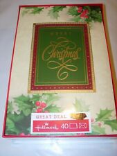 40 Merry Christmas Cards & Envelopes Hallmark Glitter Holly Red Gold Ivory 5X8