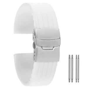 Mens Silicone Band Watch for Replacement White Casual 18 20 22 24mm Military