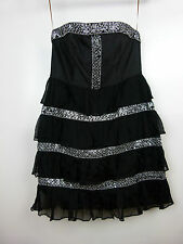 MANNING CARTEL Dress Sz 10 Black silver beading Silk cocktail race day wedding